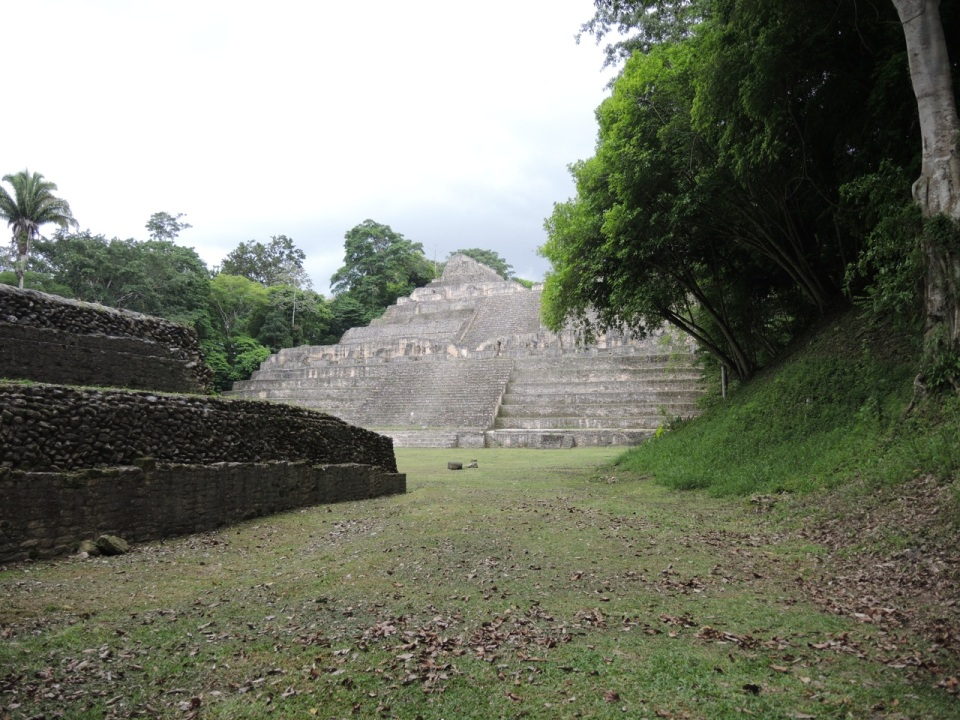 The first view of some of the structures at Caracol.
