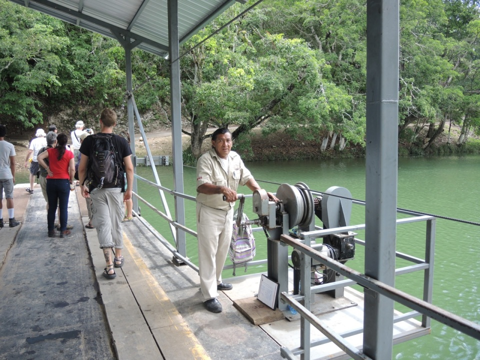 The handcranked ferry across the Mopan River to get to Xunantunich.
