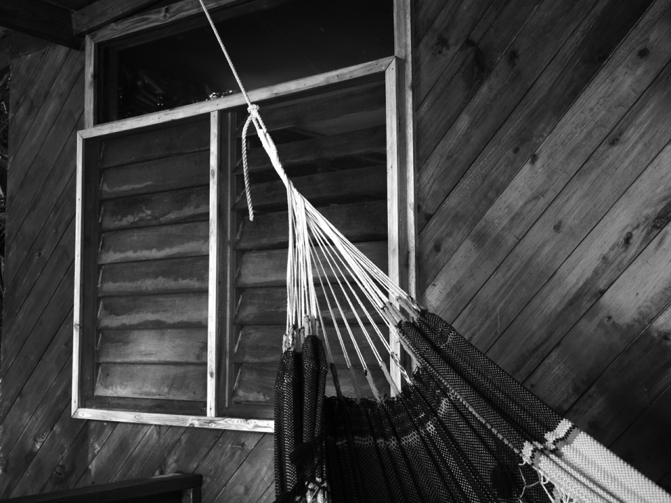Black-and-White of the Cabana and Hammock.