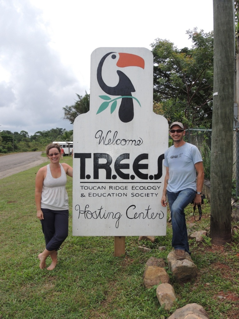 Vanessa and Matt with the TREES sign.