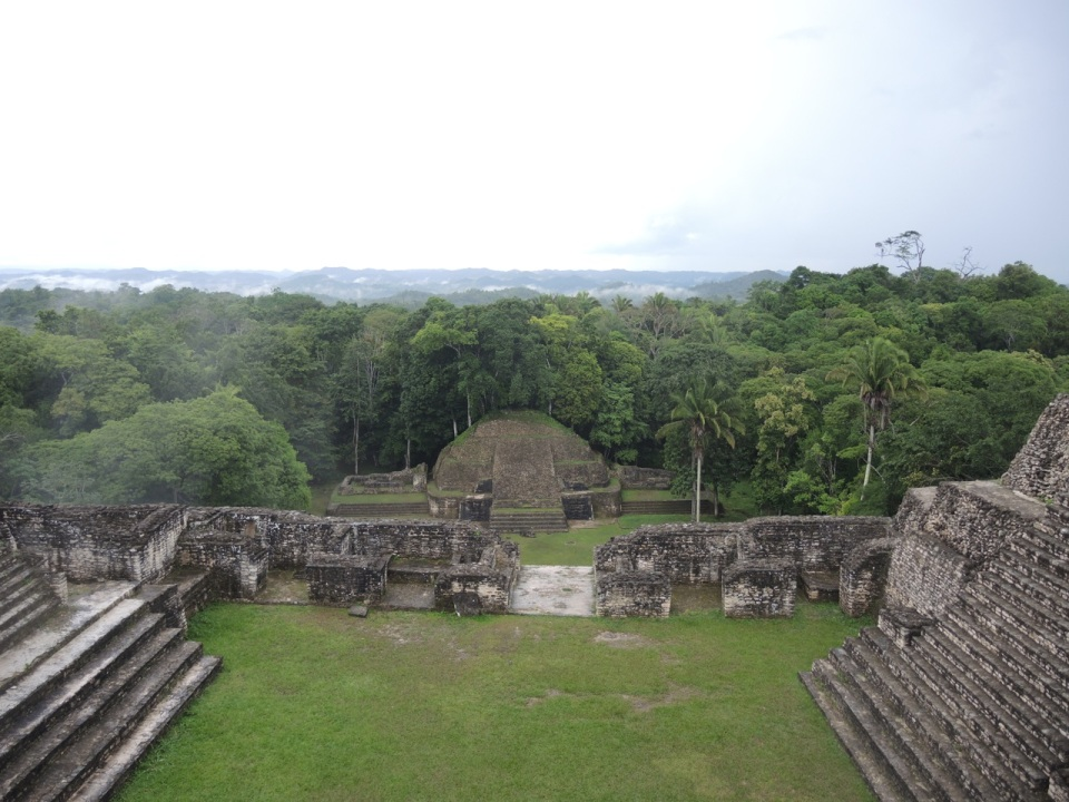 The view from the top of the large pyramid complex.