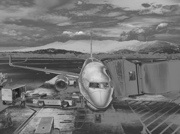 A neat black-and-white image of our airplane.
