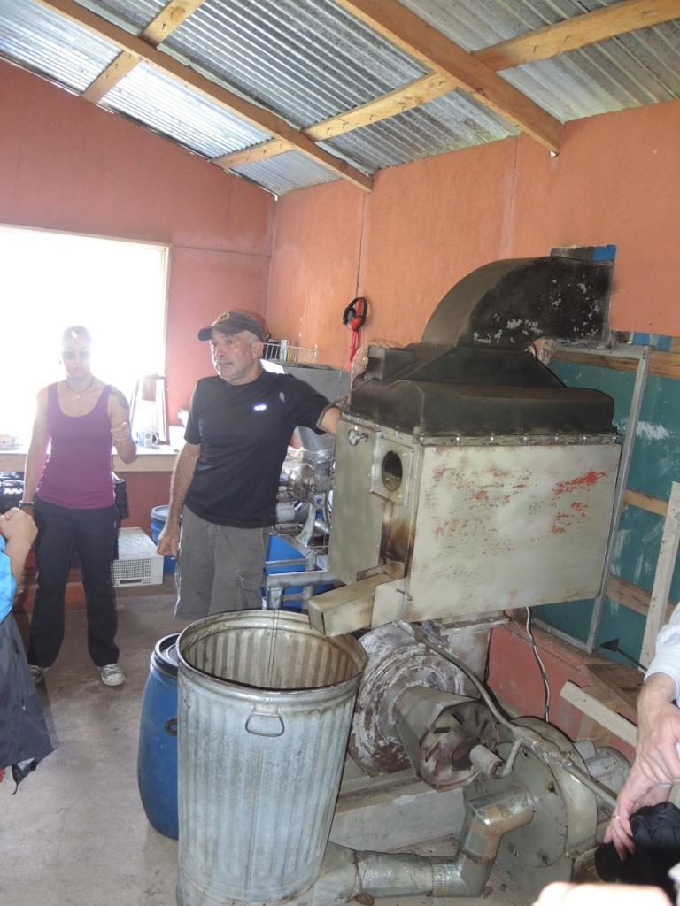 The coffee roaster designed and built by Sr Badilla.  A commercial unit such as this costs as much as $45,000.00!