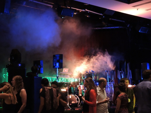 Yes, that is a smoke machine, disco lights, and lasers.
