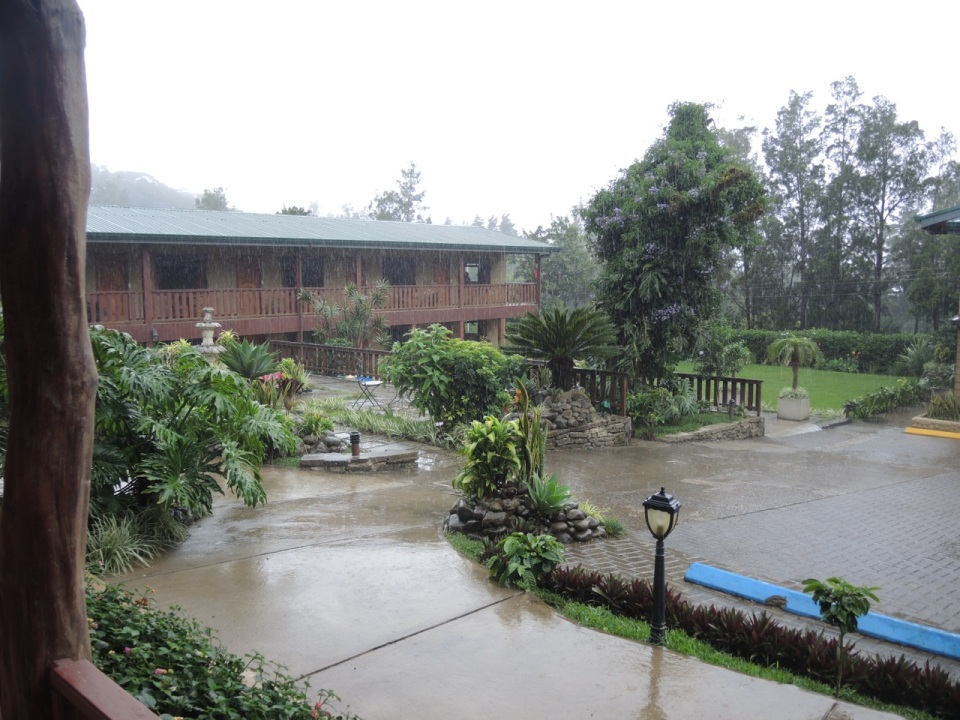Here are the hotel grounds during the rainstorm.