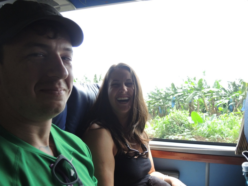 Krystel and Nate on the bus.