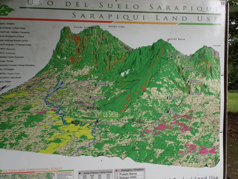 This map shows the area of La Selva and it's surrounding habitats.