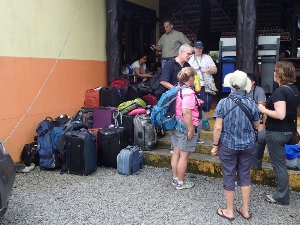 Luggage transfer to the bus after our boat ride from Tortuguero.
