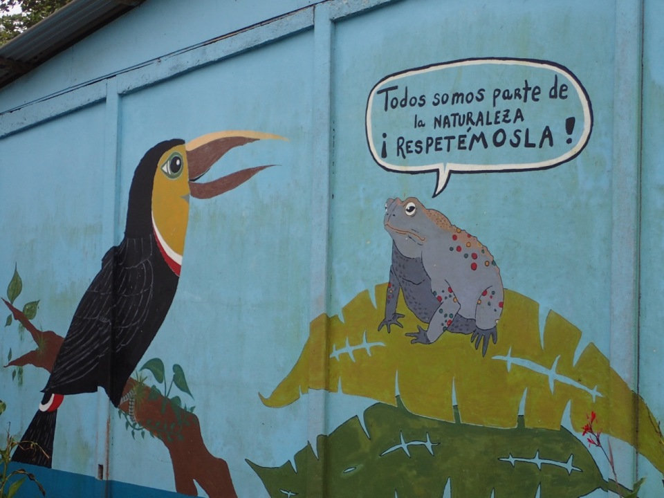 A cool mural on one of the walls of the school in Tortuguero, Costa Rica.