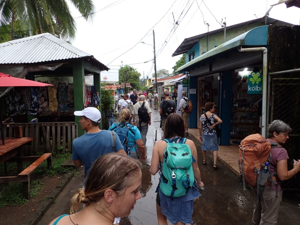 Walking through the town of Tortuguero, Costa Rica.